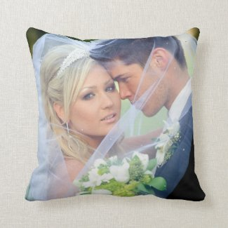 Photo Monogram Names Wedding Keepsake Pillow