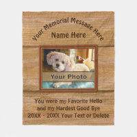 Photo Personalized Unique Pet Memorial Gifts Fleece Blanket