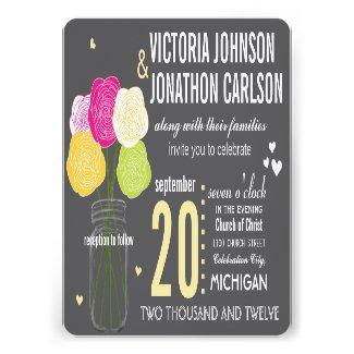 Photo Ranunculus Typography Modern Wedding Custom Announcement