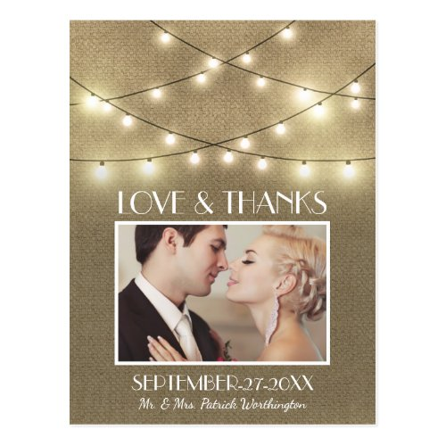 Photo Rustic Lights Burlap Save the Date Postcards