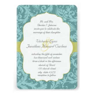 Photo Vintage Love Bird Damask Wedding Invite