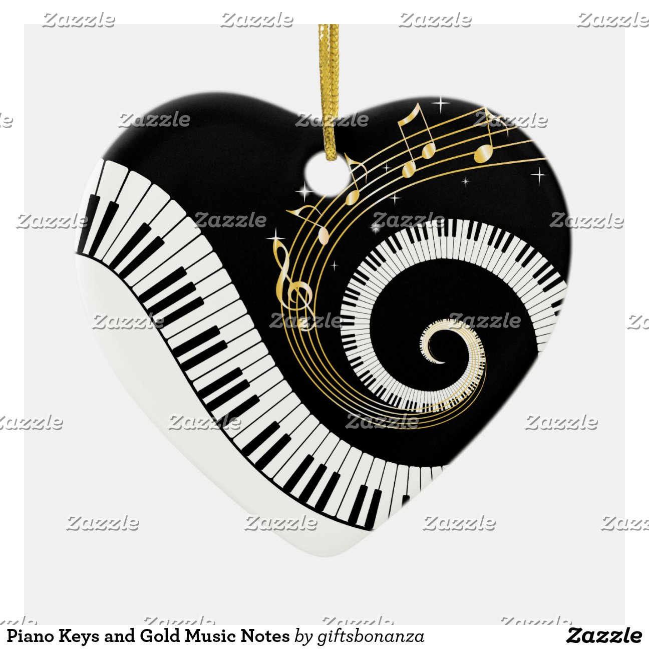 Piano Keys And Gold Music Notes Double Sided Heart Ceramic