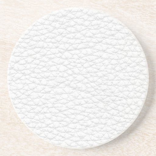 Picture of White Leather. Drink Coaster
