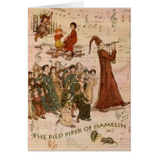 Pied Piper Collage Greeting Cards