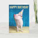❤️ Sweet Pig In Party Hat Birthday Card