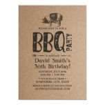 Rustic Kraft Pig Roast BBQ 30th Birthday Party Invitation