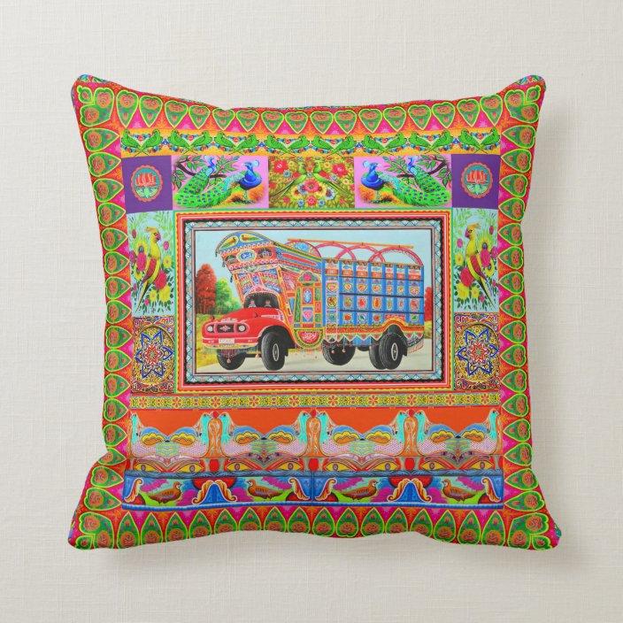 pillowcase inspired by truck art 3 throw pillow zazzle com