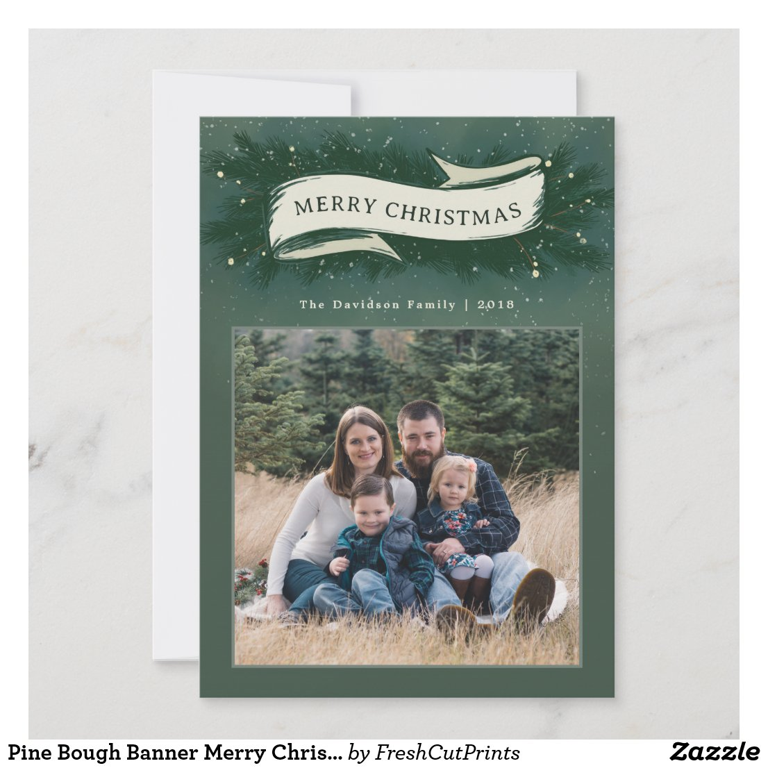 Pine Bough Banner Merry Christmas Photo Card