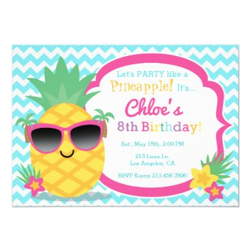 Pineapple Luau Birthday Party Invitation