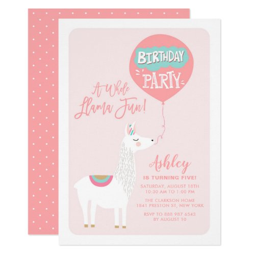 Pink A Whole Llama Fun Kids Birthday Invitation