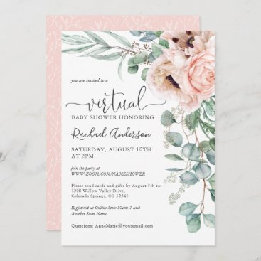 Pink and Beige Floral Virtual Baby Shower Invitation