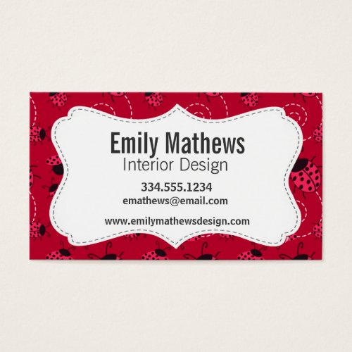 Pink and Black Ladybug Pattern Business Card