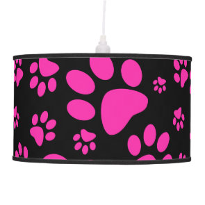 Pink and Black Leopard Print and Paws Personalized Pendant Lamps