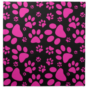 Pink and Black Leopard Print and Paws Personalized Napkins