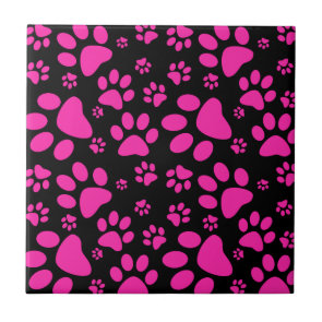 Pink and Black Leopard Print and Paws Personalized Ceramic Tile