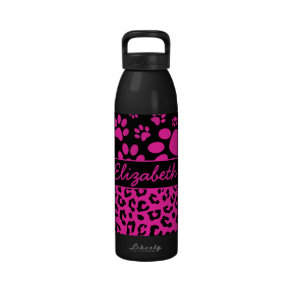 Pink and Black Leopard Print and Paws Personalized Reusable Water Bottles