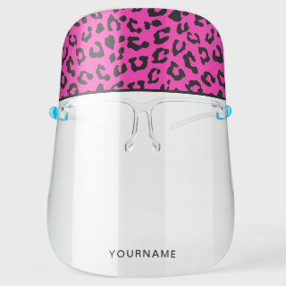 Pink and Black Leopard Print Personalized Face Shield
