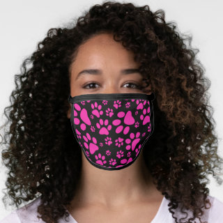 Pink and Black Paw-Prints Face Mask