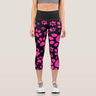 Pink and Black PawPrint Capri Leggings
