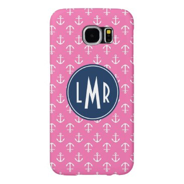 Pink and Blue Monogram Anchors Pattern Samsung Galaxy S6 Case
