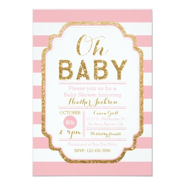Pink And Gold Baby Shower Invitation, Baby Girl Invitation