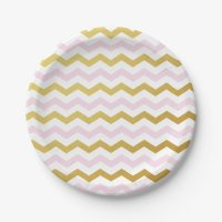 Pink and Gold Chevron Pattern Paper Plates | Zazzle.com