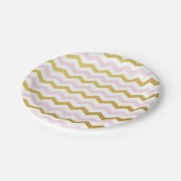 Pink and Gold Chevron Pattern Paper Plates | Zazzle