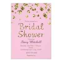 Pink and Gold Glitter Bridal Shower Invitation | Zazzle