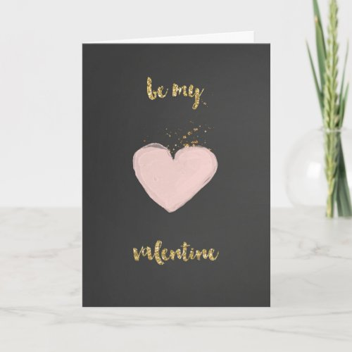 Pink and Gold Happy Valentine's Day Card