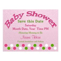 Pink and Green Baby Shower Save the Date Cards | Zazzle.com