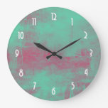 Pink and Green Grunge Painted Abstract
