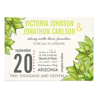 Pink and Green Succulent Modern Typography Wedding Invite