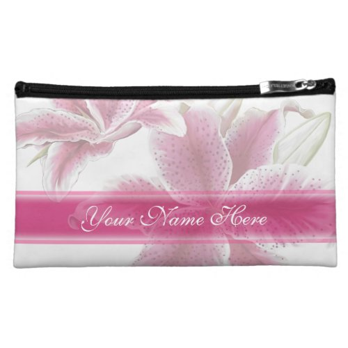 Pink and Red Floral with Ribbon Makeup Bag