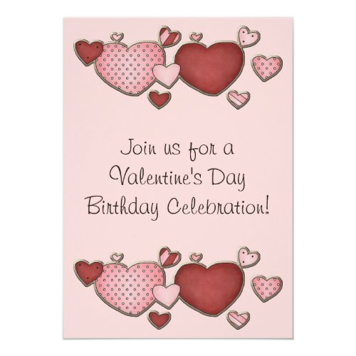 Pink and Red Hearts Valentine's Day Birthday Party Invitation