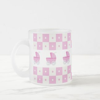 Pink and White Baby Carriage Frosted Glass Mug mug
