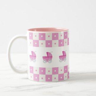Pink and White Baby Carriage Mug mug