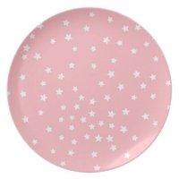 Pink and White Stars Melamine Plate | Zazzle
