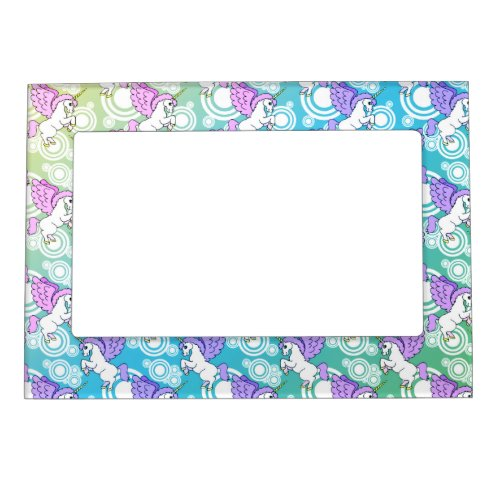 Pink and White Unicorn Pattern Design Magnetic Photo Frame