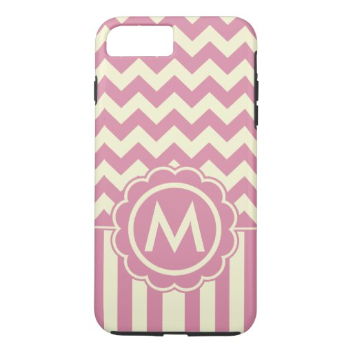 Pink and Yellow Chevron Monogram iPhone 7 Plus Case