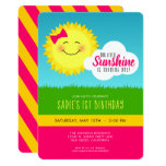 Pink and Yellow Sunshine Birthday Party Invitation