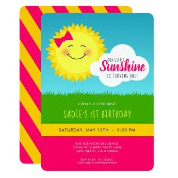 Pink and Yellow Sunshine Birthday Party Invitation