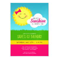 Pink and Yellow Sunshine Birthday Party Magnetic Card