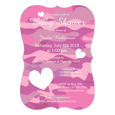 Pink army camo baby shower invitations with hearts