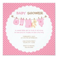 Pink Baby Clothes Line Shower Invitations | Zazzle.com
