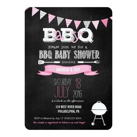 Pink Babyq Bbq Baby Shower Invitation