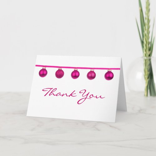 Pink Baubles on Ribbon Christmas Thank You Note
