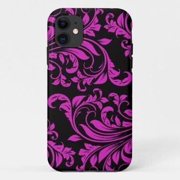 Pink & Black Damask Patterns iPhone 5 iPhone 11 Case