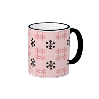Pink black flowers mug