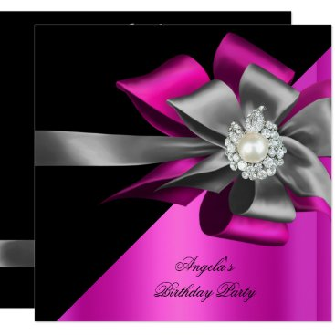 Pink Black Grey Silver Bow Pearl Birthday Party Card