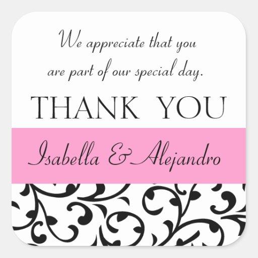 Pink black wedding favor thank you message square sticker zazzle